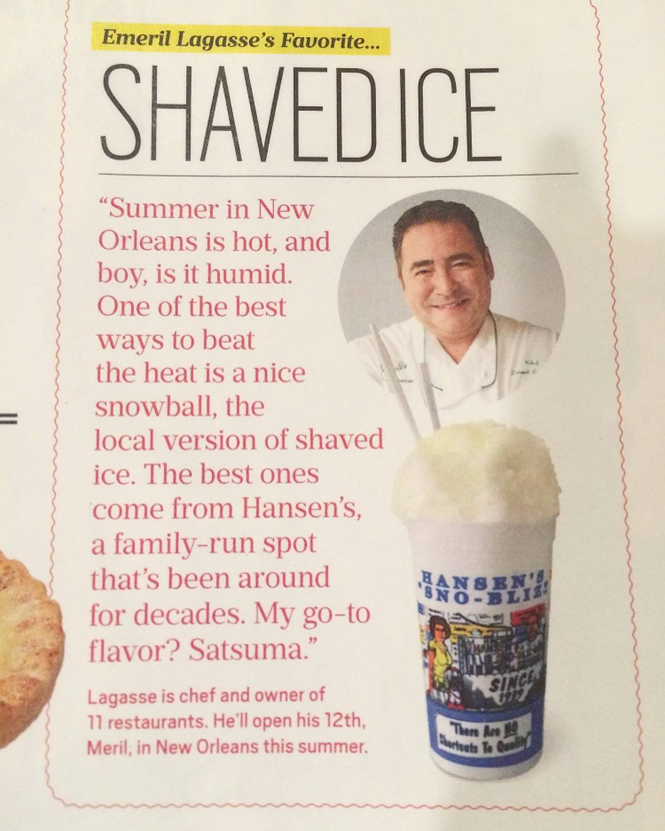 @emeril's favorite snoball? Satsuma from Hansen's @snobliz! As featured in the latest @oprahmagazine!
