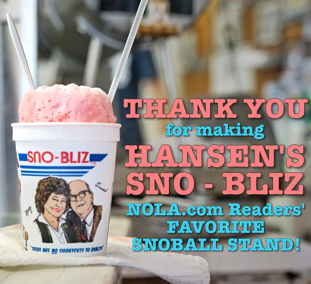 A huge THANK YOU to all our fans who voted us the #1 Snoball Stand in New Orleans on @noladining! We're tickled nectar by the honor! #SnowballNOLA2016 #TeamSnoBliz #ImWithHansens #TeamNoShortcutsToQuality