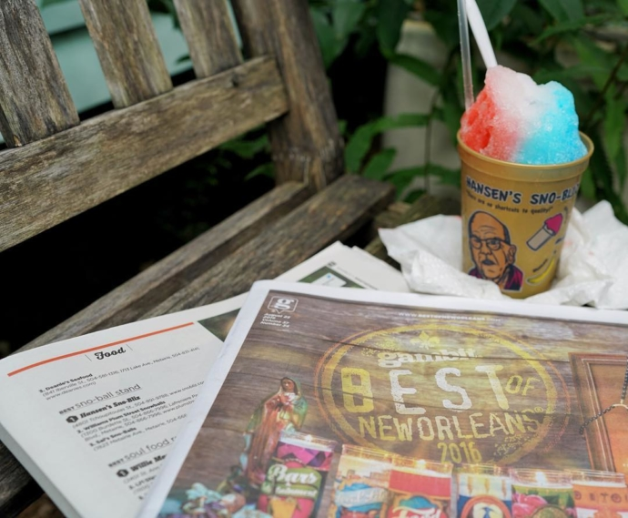 Hot off the presses: thank you @gambitneworleans readers for voting us the Best Sno-Ball Stand in New Orleans in the current Best of New Orleans issue! #BONO2016 #BestOfNewOrleans