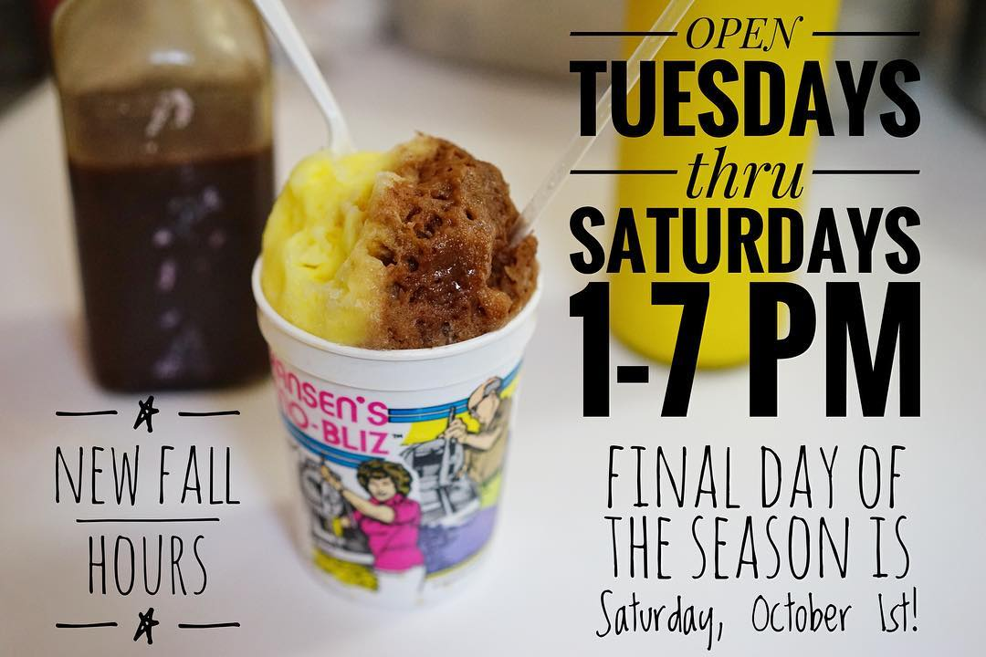 It's getting to be that time of year. Our 77th season has just flown by and we will now be closed on Sundays in addition to regularly closed on Mondays. Our final day of the season will be Saturday, October 1st. ✌🏼️❤️🍧 📷: @mauxfo