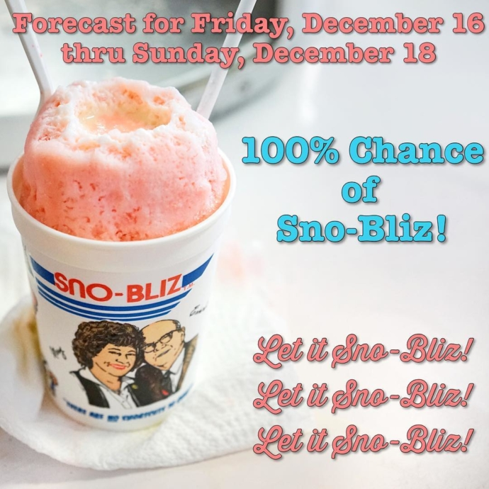 Let's make it Instagram official! More details including hours and flavors coming soon! This holiday season we're expanding our little Christmas miracle to three days. Let it Sno-Bliz! ✌🏼️❤️🍧🎄#LetItSnoBliz