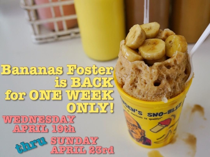 Your favorite warm topping on your favorite snoball returns for one week only this month. Bananas Foster is being served this Wed to Sun April 19-23! ✌🏼❤️🍌🍧 (📷: @mauxfo)