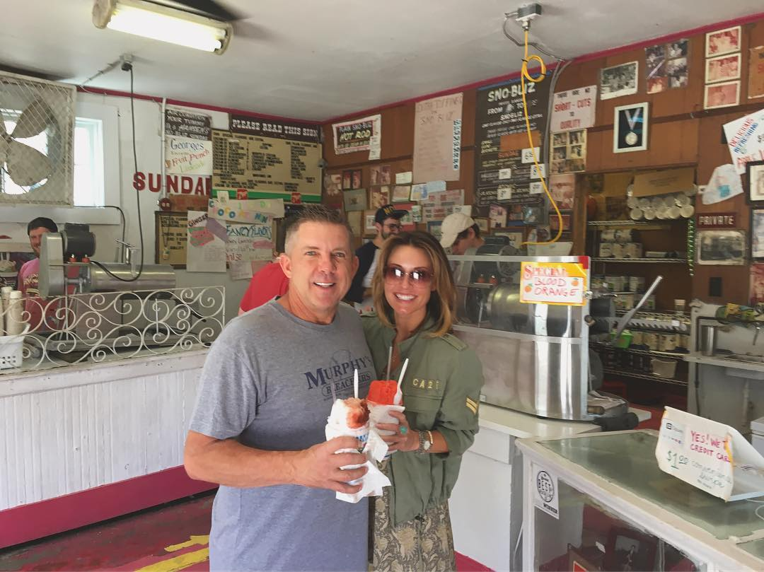 Cherry & Limeade Sno-Bliz and nothing but smiles for Coach Sean Payton today at the stand! Who Dat?! ❤️⚜️🍒🍈🍧