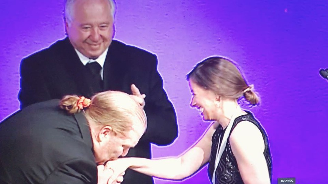 """This is bananas to Ashley and Gerry Hansen onstage with @mariobatali at the 2014 @beardfoundation James Beard Awards as Ash accepts the America's Classic Award! The other thing that's bananas is this is the only week this month we're making Bananas Foster for your snoball! Now thru Father's Day only!"