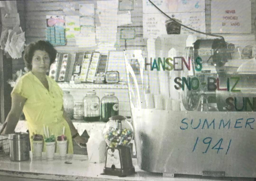 to Mary Hansen, Summer of '41 in the old Valmont Street Sno-Bliz stand.