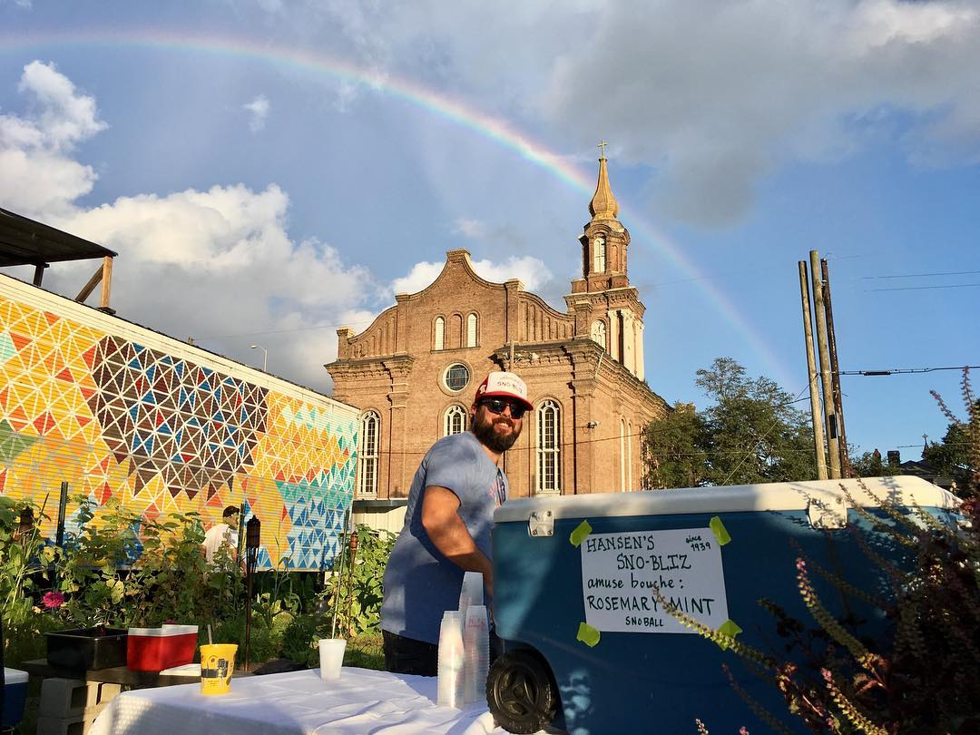 A rainbow in Central City! We had so much fun participating in the @paradigm_gardens fall concert dinner series this evening with @patoisnola, @boucherienola, @bacchanalwine, @restaurantaugustneworleans & @twogirlsoneshuck with some killer tunes from the Zac Maras Band and some delicious booze from @courtyardbrew & @catheadvodka! This fantastic dinner series continues throughout the fall with different bands and restaurants!