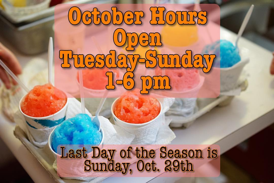 The end is near…just a few weeks left of our 78th season! We're closing earlier…now at 6 pm! Last day of the season is Oct 29th. Bananas Foster returns 10/25-10/29 only! ✌🏼❤️🍧