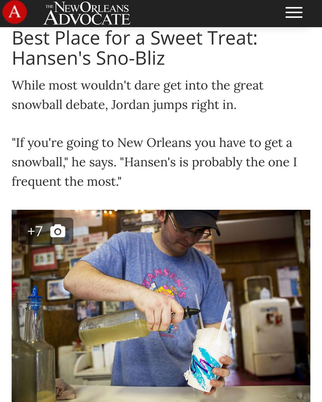New Orleans @saints defensive end @camjordan94 names Hansen's @snobliz his favorite snoball stand! We love when our boys in Black & Gold visit us at the stand! Check the link in the bio for the full story! He also gave a nice shout out to our friends at @kinfordindin, who we can't praise enough!