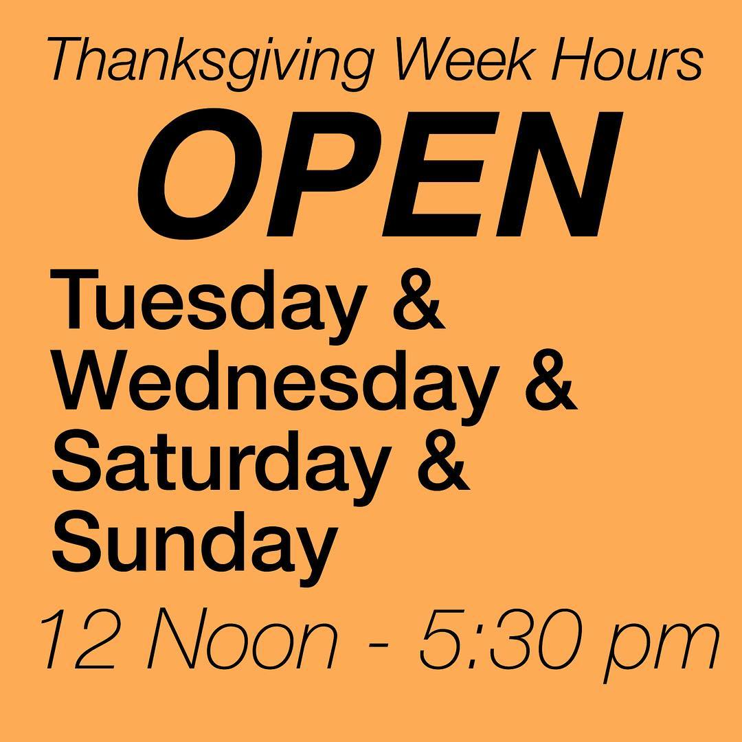 Special Hours and Days for Thanksgiving Week! We are still OPEN! Bring the family out and have a snoball this week!