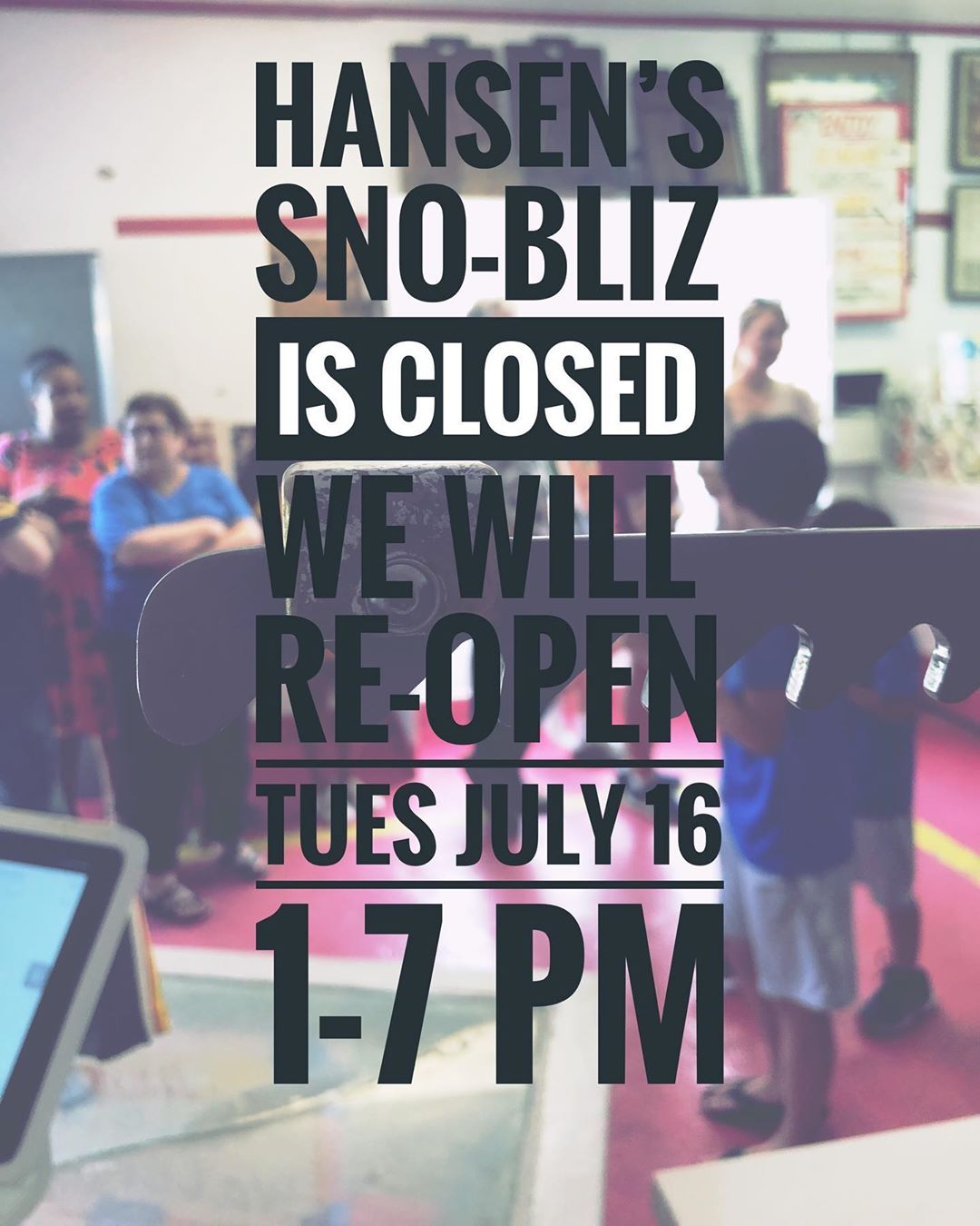 Back open Tuesday 7/16! We're all safe and sound and can't wait to be back to doing what we do best for all y'all very very soon!