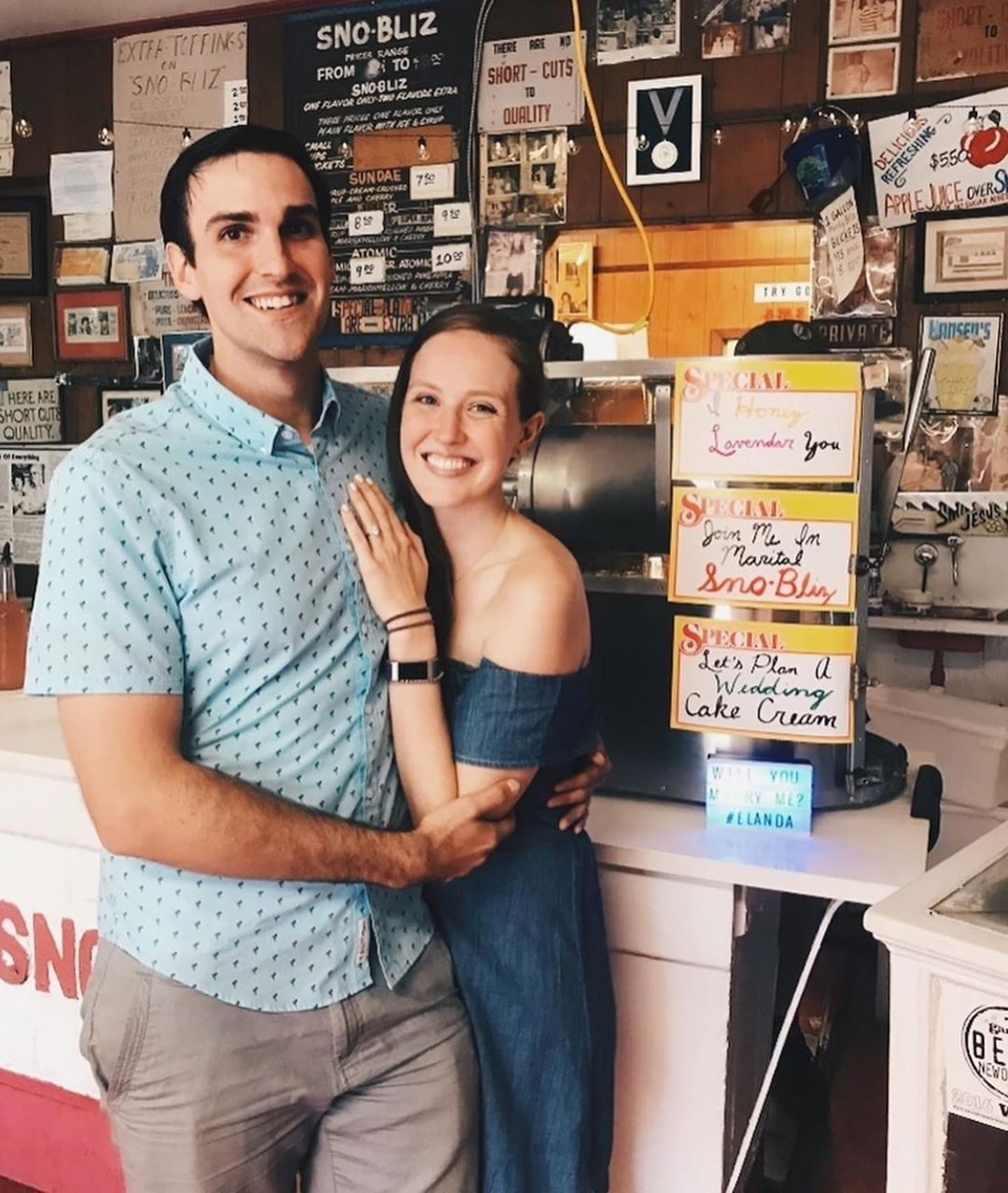 Congratulations to long-time Hansen's staffer Eli and his fiancée Amanda on their engagement and super cute proposal at the stand!  Check out the special flavors of the day: I Honey Lavender You, Join Me in Marital Sno-Bliz, Let's Plan a Wedding Cake Cream!